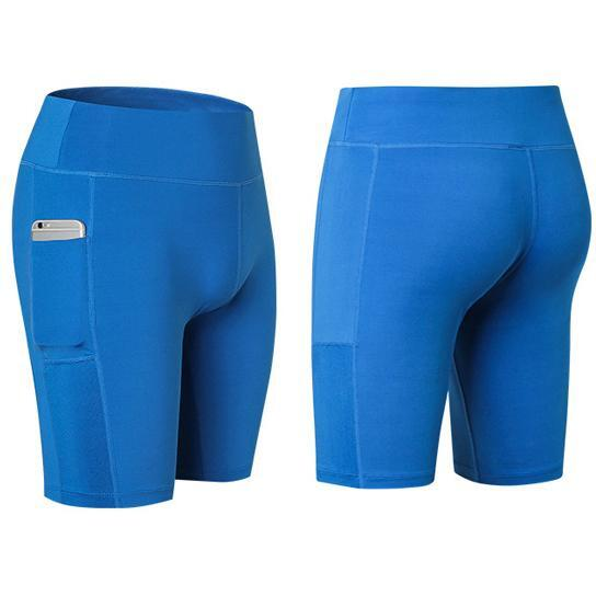All Seasons Yoga Shorts Stretchable With Phone Pocket -Size: Small, Color: Blue