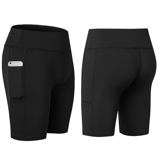 All Seasons Yoga Shorts Stretchable With Phone Pocket -Size: Medium, Color: Black