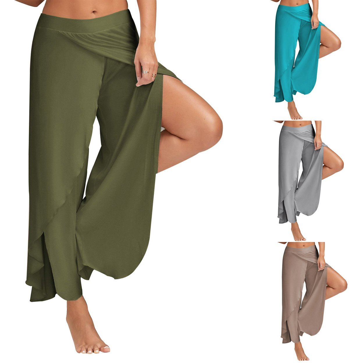 Tulipa Palazzo High Fashion Cocktail Pants -Size: X-Large, Color: Turquoise