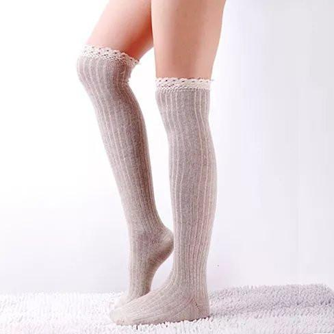 Crochet Cuteness Knee High Socks - Color: Wine Red