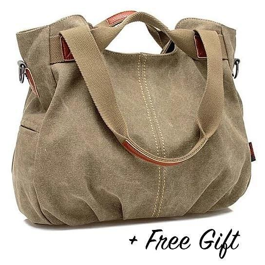 Canvas Satchel Handbag with Free RFID Case in 7 Colors - Color: Grape Crush