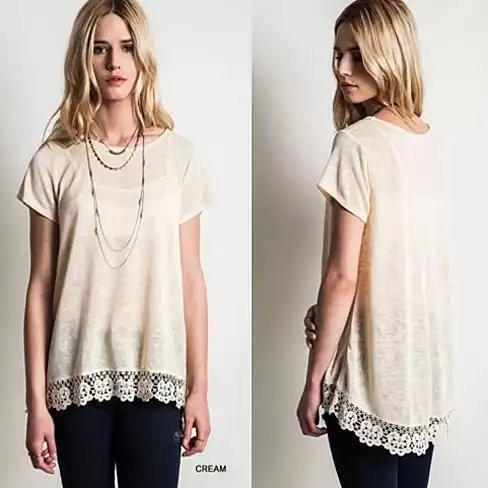 VIRINA Floral Lace Top -Size: Large, Color: Cream