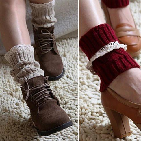 Vintage Style CableKnit At Your Feet Leg Warmer Socks With Lace - Color: Ivory