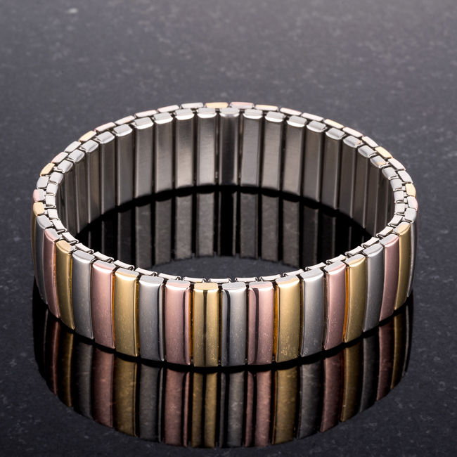 Tritone 14mm Stainless Steel Stretch Bracelet