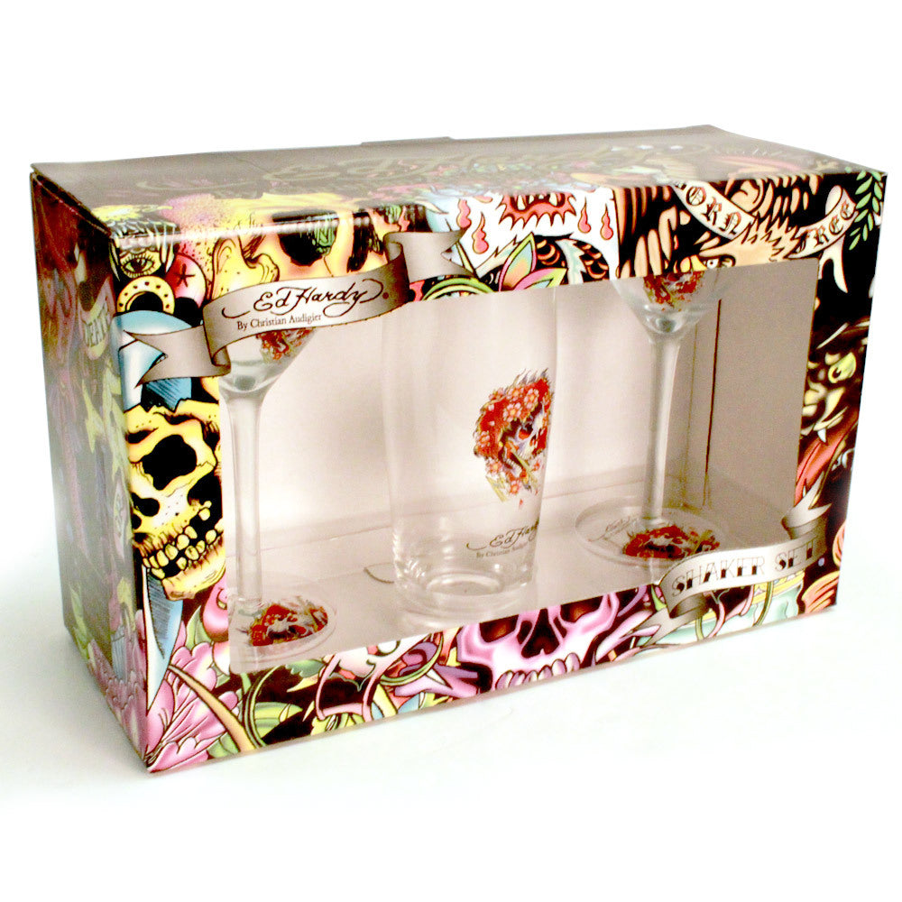 Don Ed Hardy Martini Shaker w/ 2 - 6 fl. oz Glasses