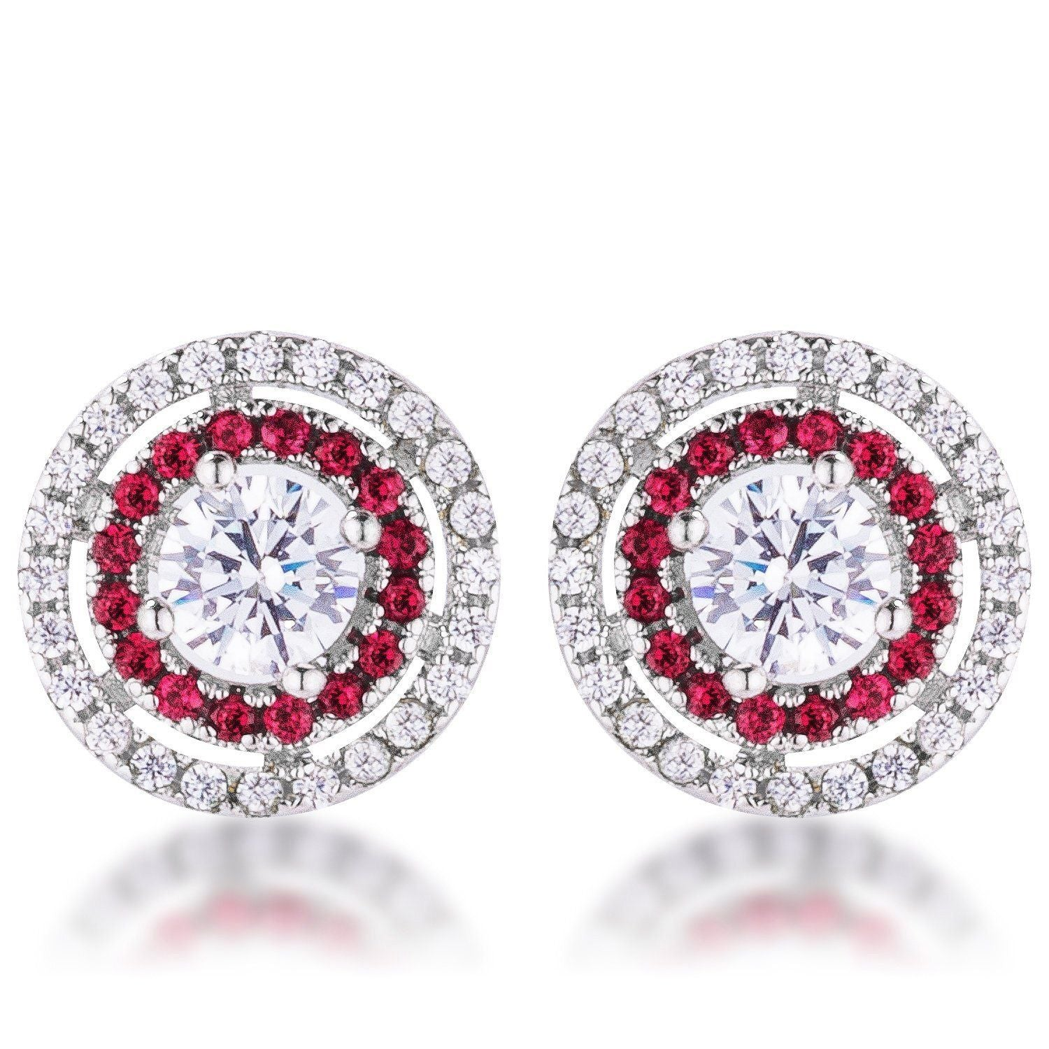 Ruby Red Cubic Zirconia Halo Earrings