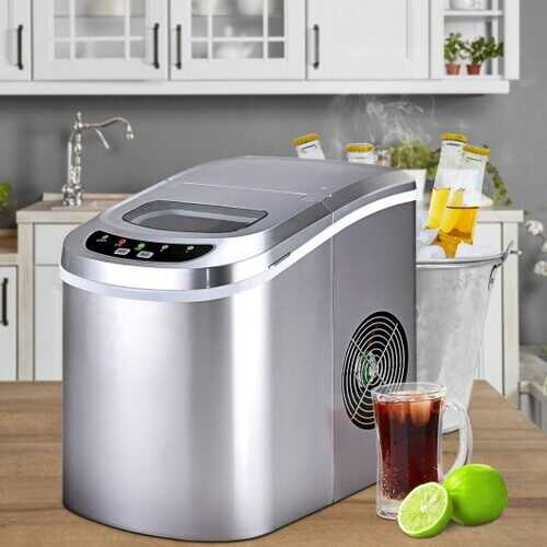 Mini Portable Compact Electric Ice Maker Machine-Silver - Color: Silver