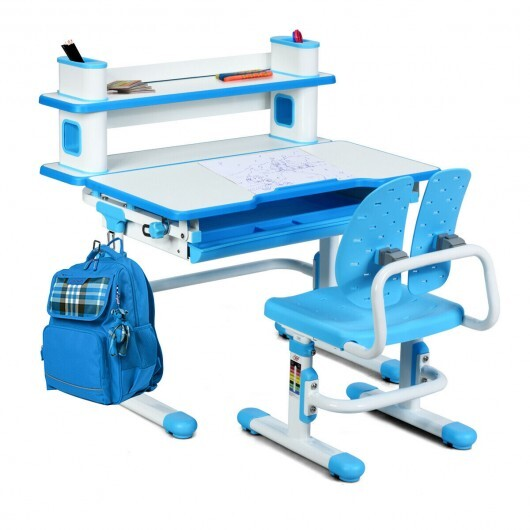 Height Adjustable Kids Desk and Chair Set-Blue - Color: Blue