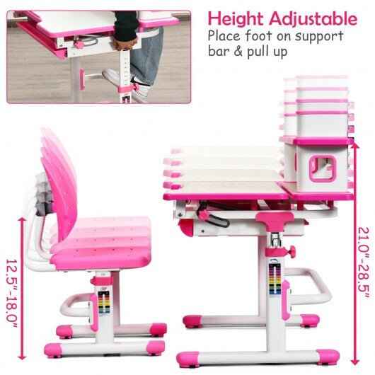 Height Adjustable Kids Desk and Chair Set-Pink - Color: Pink