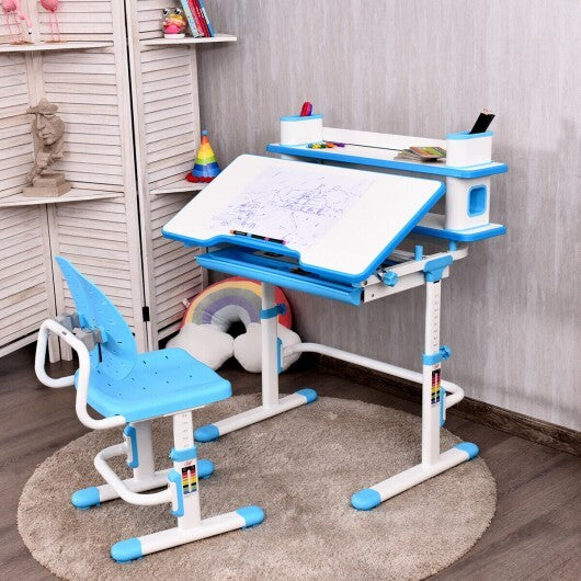 Height Adjustable Kids Desk and Chair Set-Blue