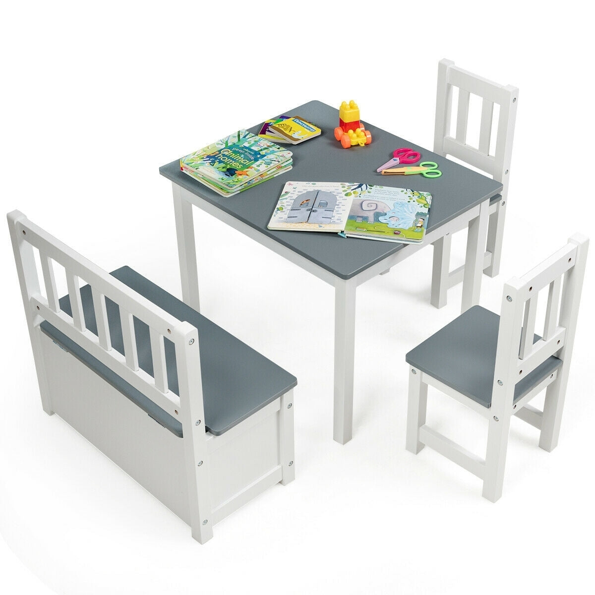 4 PCS Kids Wood Table Chairs Set -Gray - Color: Gray