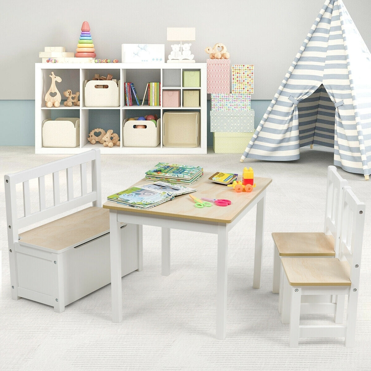 4 PCS Kids Wood Table Chairs Set -Natural - Color: Natural