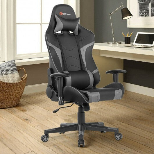Reclining Swive Massage Gaming Chair-Gray - Color: Gray