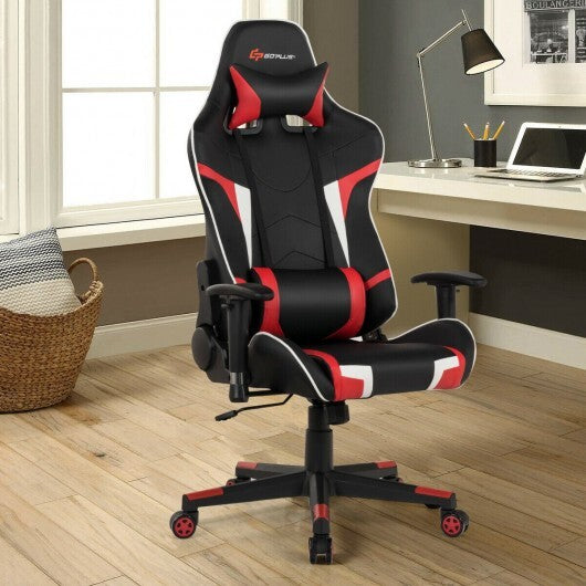 Reclining Swive Massage Gaming Chair-Red - Color: Red