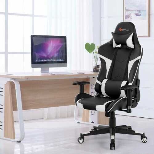 Reclining Swive Massage Gaming Chair-White - Color: White