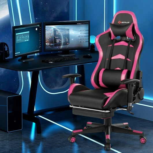 Massage Gaming Chair with Footrest-Pink - Color: Pink