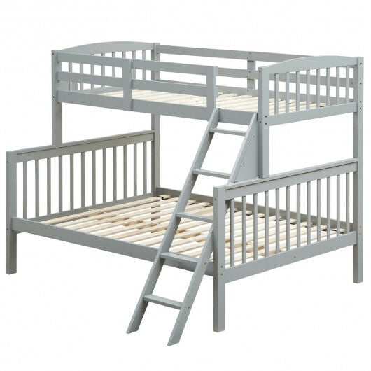 Twin over Full Bunk Bed Rubber Wood Convertible with Ladder Guardrail-Gray - Color: Gray