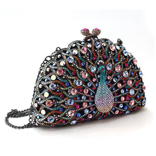 LO2370 - White Metal Clutch Ruthenium Women Top Grade Crystal Multi Color