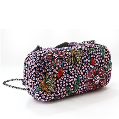 LO2374 - White Metal Clutch Ruthenium Women Top Grade Crystal Multi Color
