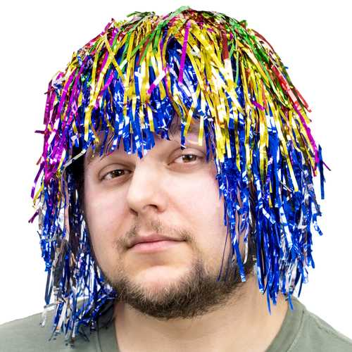 Tinsel Wigs 6-pack, Rainbow