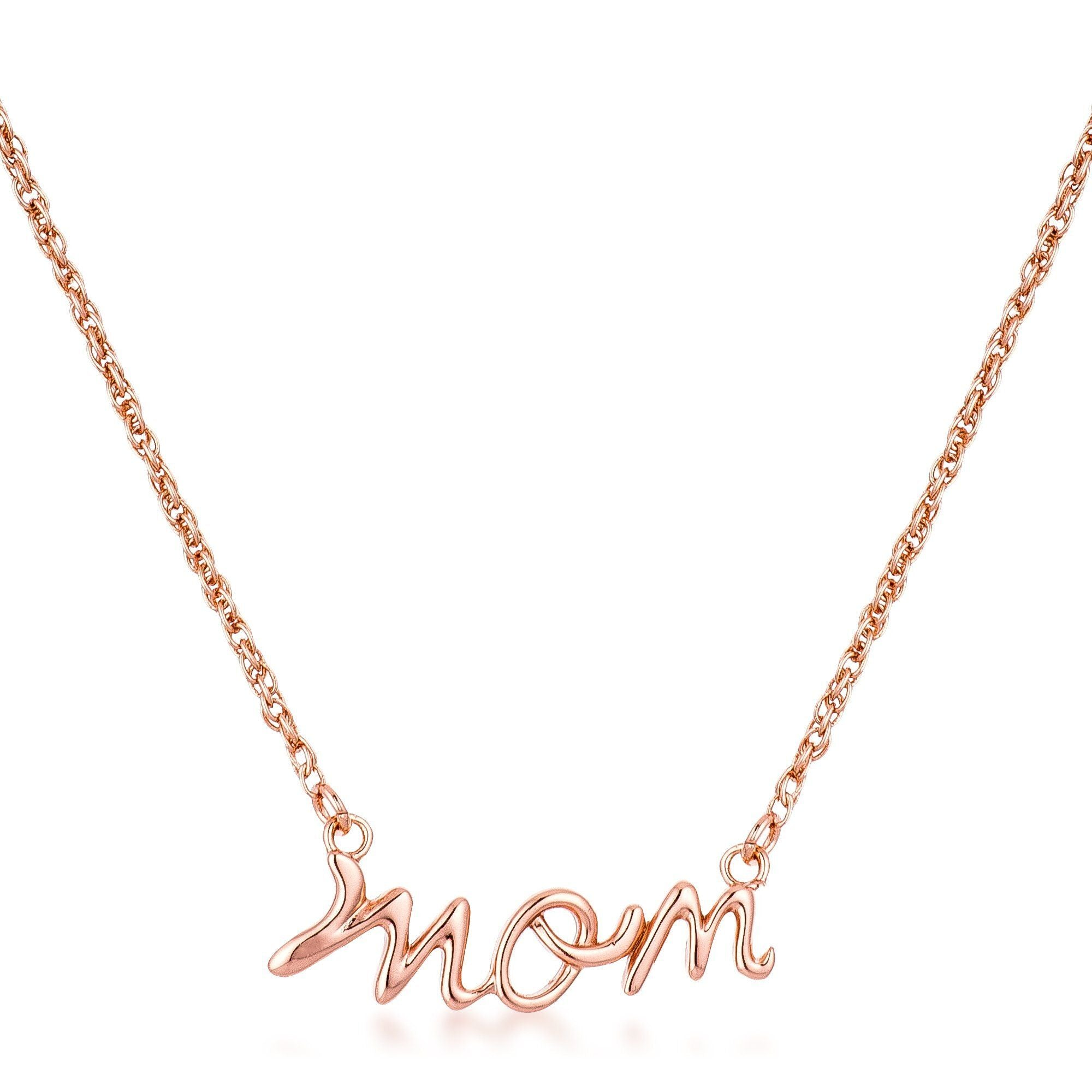 18k Rose Gold Plated Mom Script Necklace