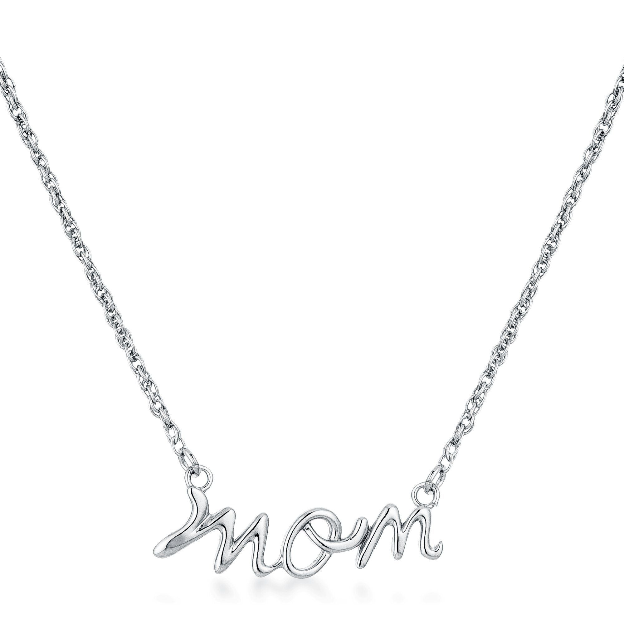 Rhodium Plated Mom Script Necklace