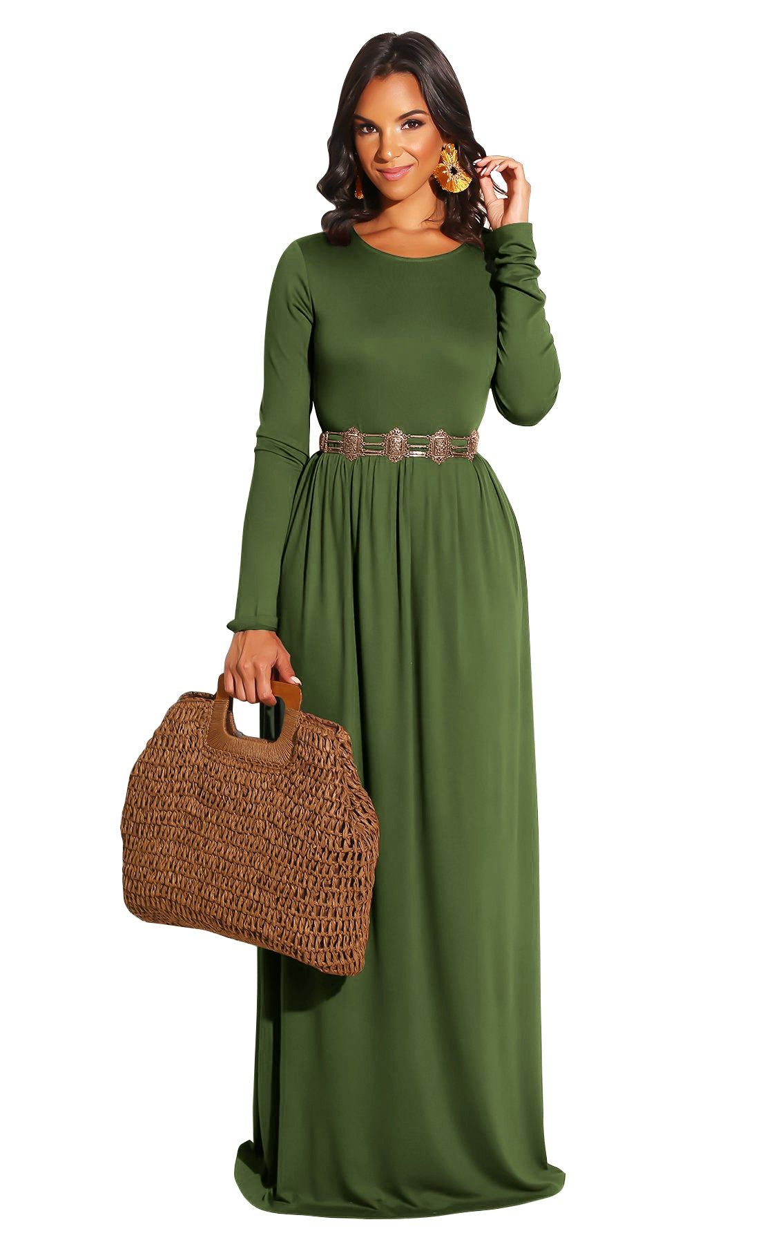 Army Green Long Sleeve O-Neck Casual Maxi Dress( Not including the waistband)