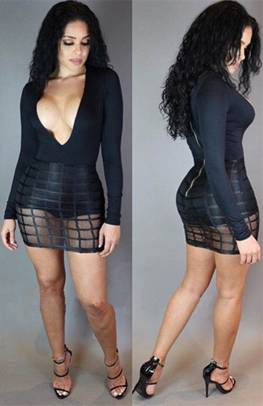 Newest Long Sleeve Deep V-Neck Patchwork Bodycon Dress Black