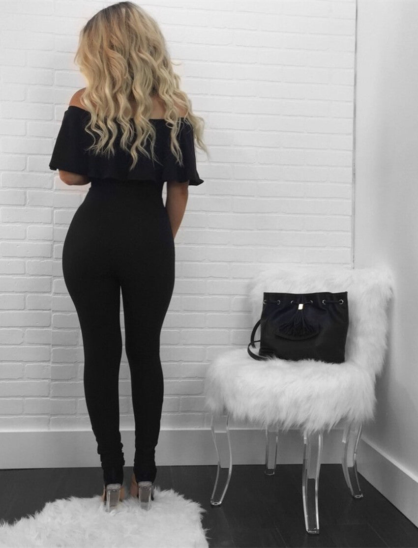 2017 Fashion Women Summer Strapless Ruffles Off-Shoulder With Holes Jumpsuits Without Belt Black