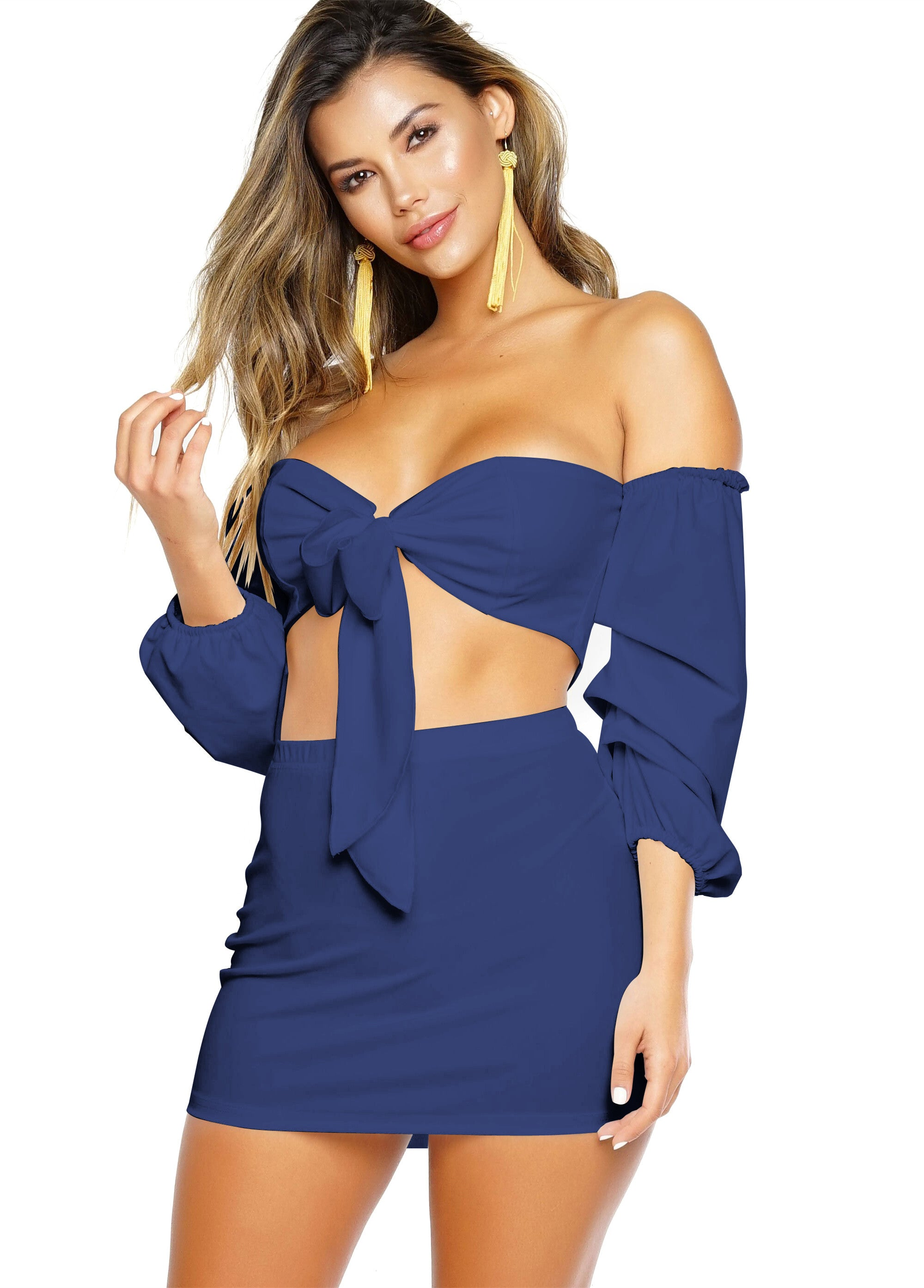 Sapphire Sexy Strapless Long Sleeve Two-piece Dress