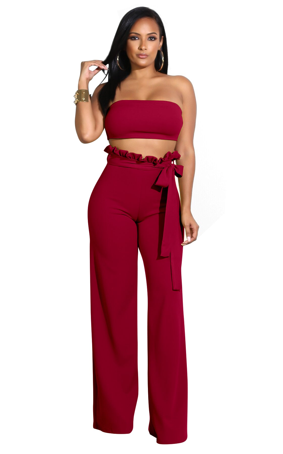 Top Wrapped Women Sexy Expose Navel Two Pieces Suit Wine Red