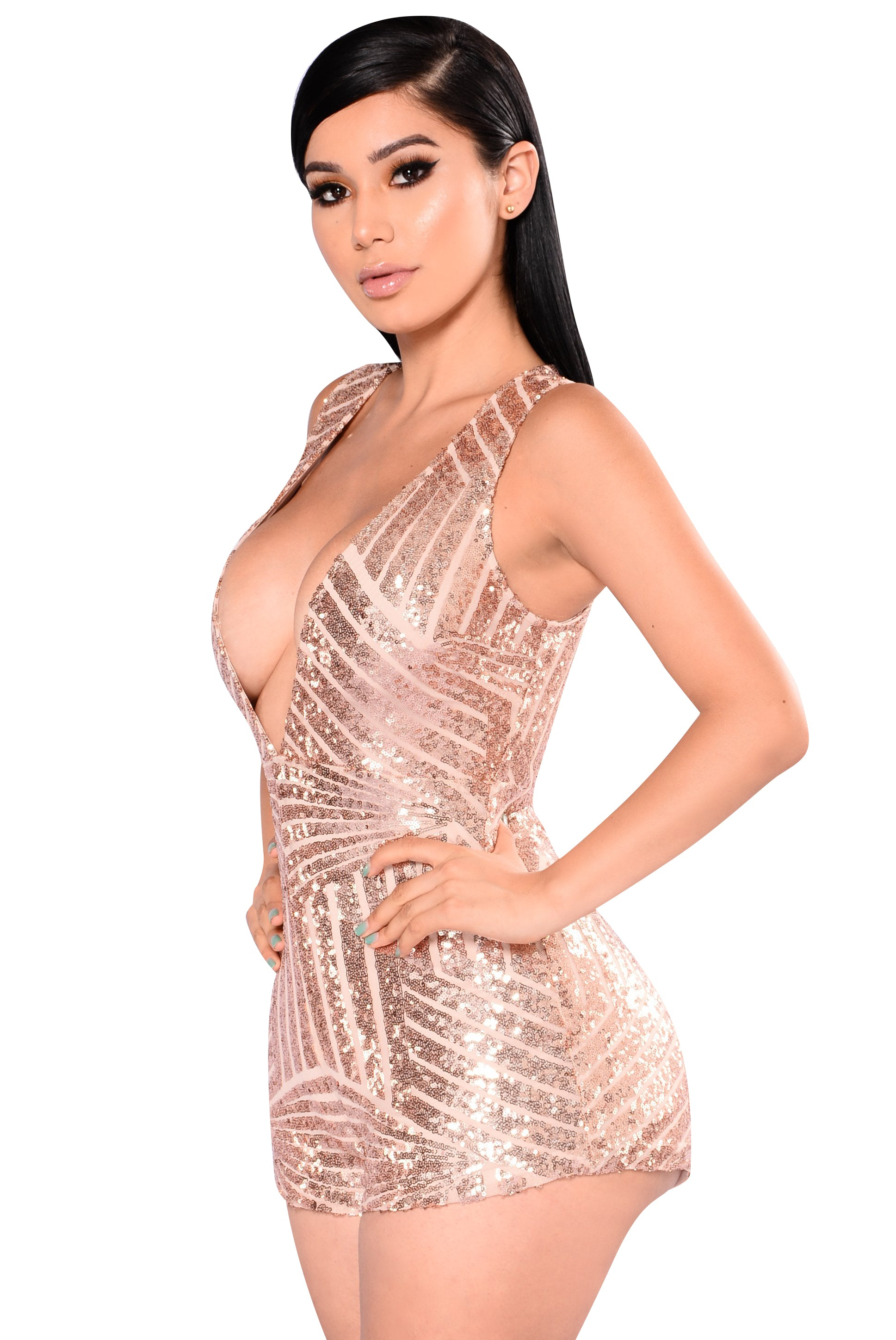 Deep V Neck Sequins Sleeveless Jumpsuit