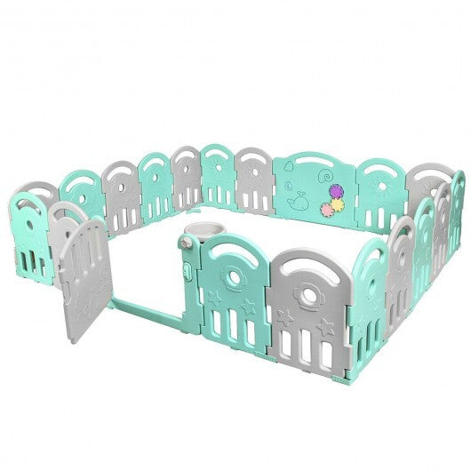 20-Panel Playpen with Music Box & Basketball Hoop-Light Green - Color: Light Green
