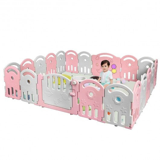 20-Panel Playpen with Music Box & Basketball Hoop-Pink - Color: Pink