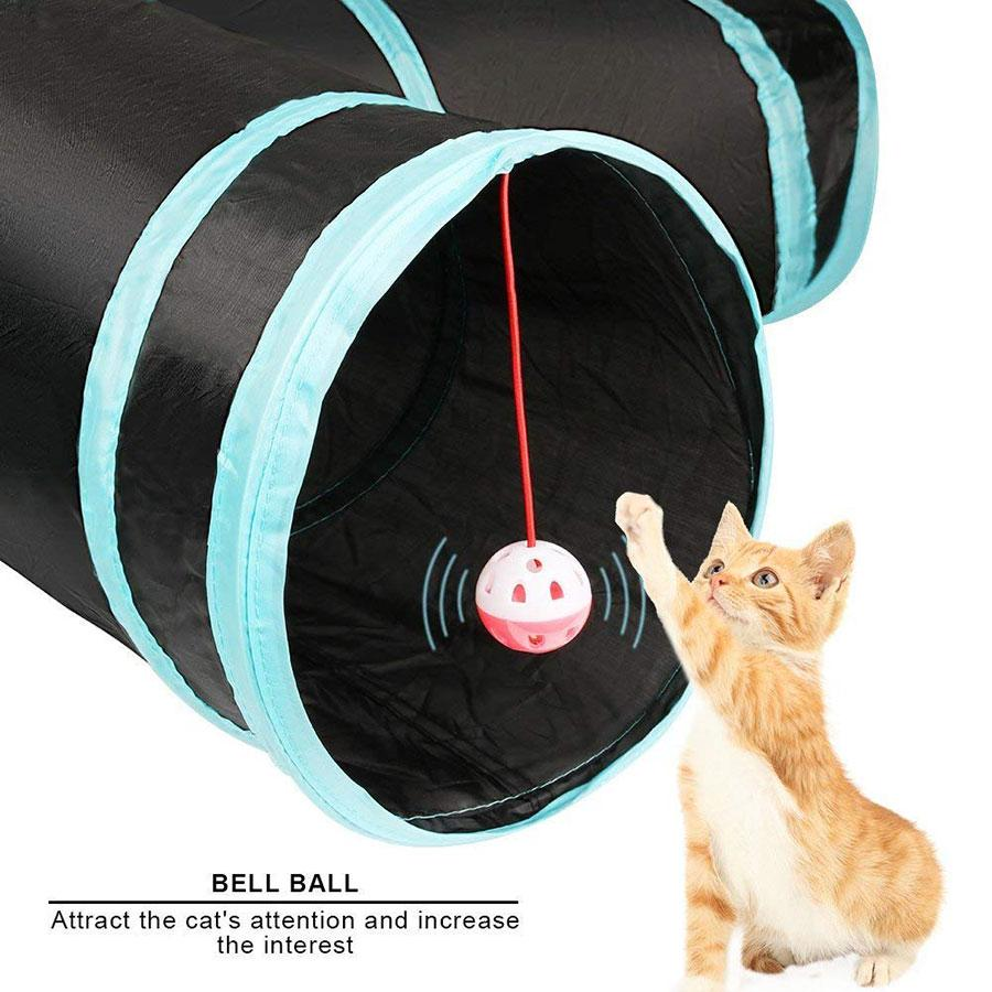 5 Holes Cat Tunnel Foldable Cat play Tunnel toys with ball Kitten Toy