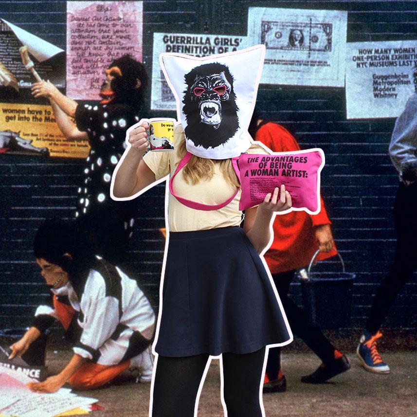 Third Drawer Down X Guerrilla Girls, Advantages Of Being A Woman Artist Clutch Textiles Third Drawer Down Studio