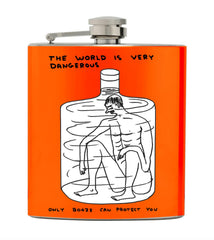 The World Is Very Dangerous Hip Flask David Shrigley