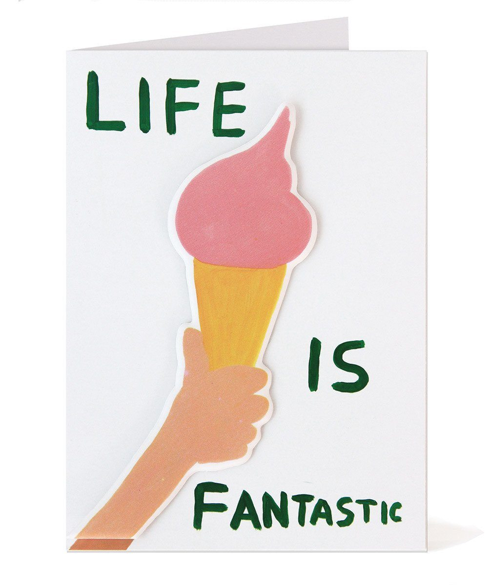 Third Drawer Down X David Shrigley, Life Is Fantastic Puffy Sticker Card Paper Third Drawer Down Studio Default Title