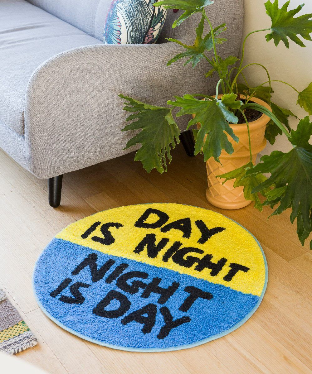 Day is Night Shaggy Floor Mat x David Shrigley Textiles Third Drawer Down Studio