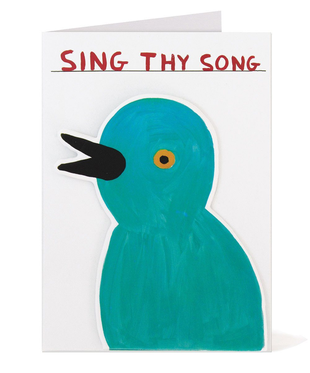 Sing Thy Song Puffy Sticker Card by David Shrigley