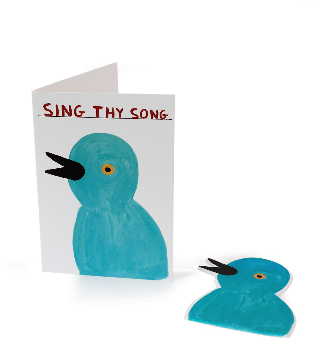 Sing Thy Song Puffy Sticker Card X David Shrigley