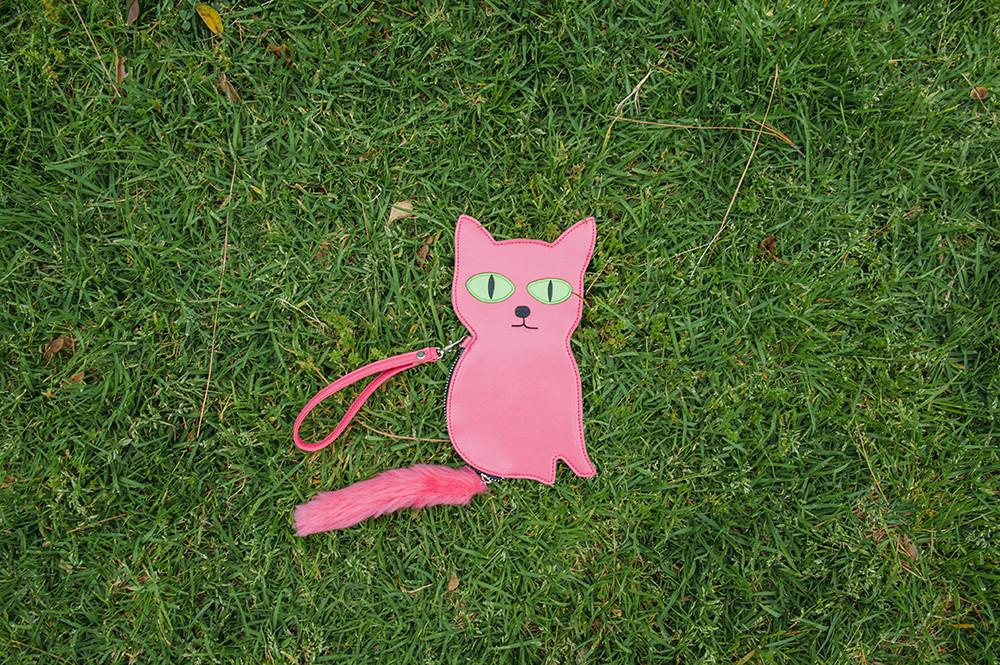Embroidered Cat Purse x David Shrigley