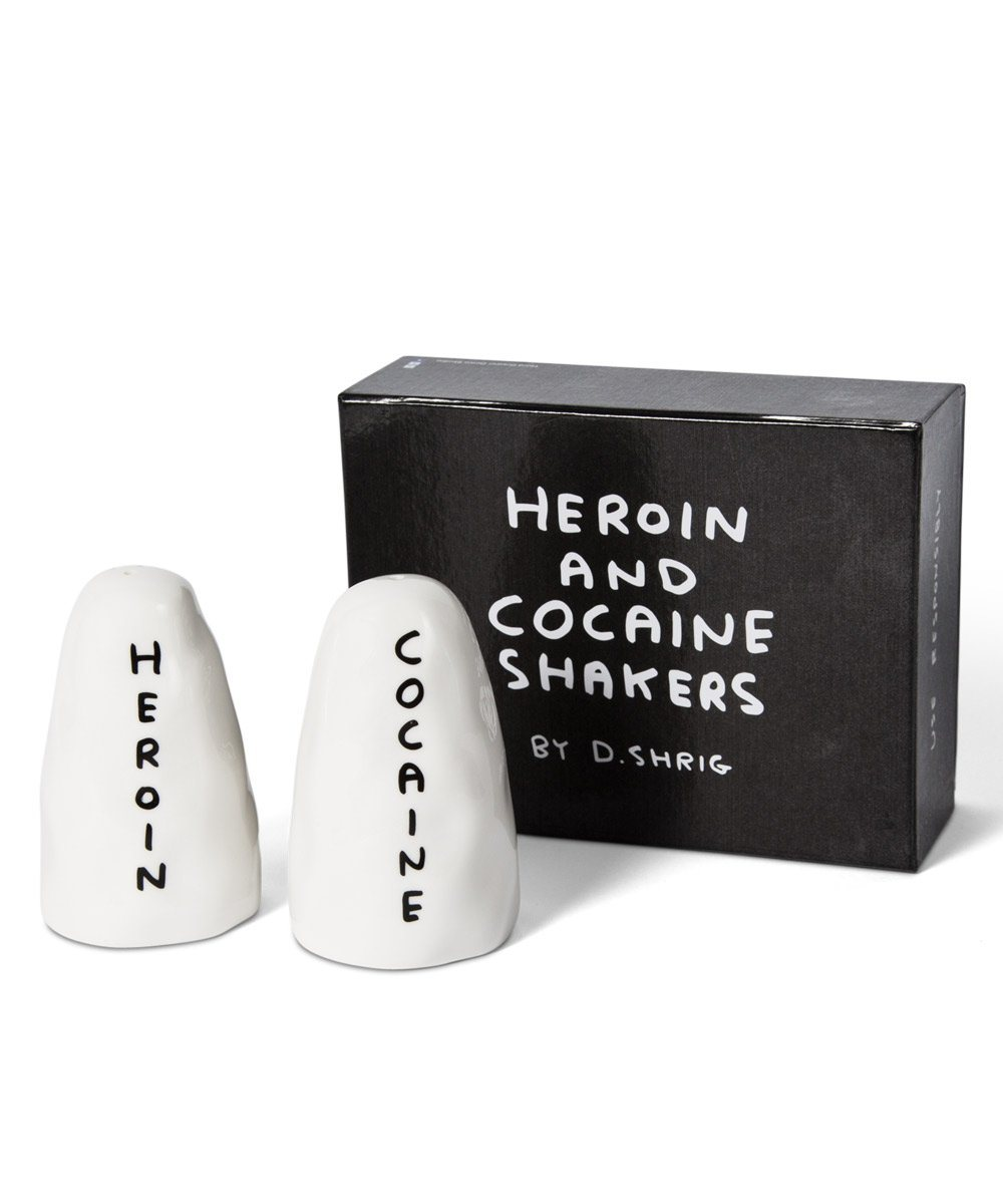 Third Drawer Down X David Shrigley, Heroin & Cocaine Salt and Pepper Shakers Ceramic Third Drawer Down Studio