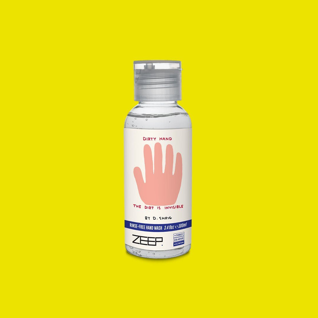 Dirty Hands Rinse Free Hand Wash 3.4oz x David Shrigley Skincare Third Drawer Down x ZEEP