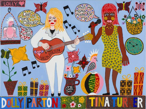 Dolly Parton and Tina Turner Tea Towel x Kaylene Whiskey Textiles Third Drawer Down Studio