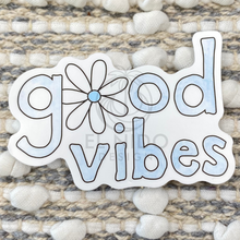 Load image into Gallery viewer, Blue good vibes flower Sticker