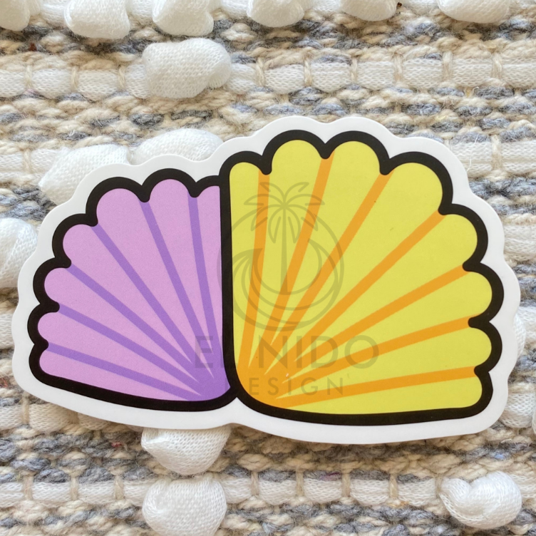 Purple and Yellow Shell Sticker
