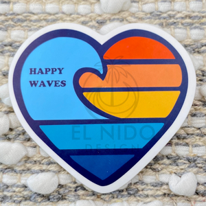 Heart Happy Waves Sticker