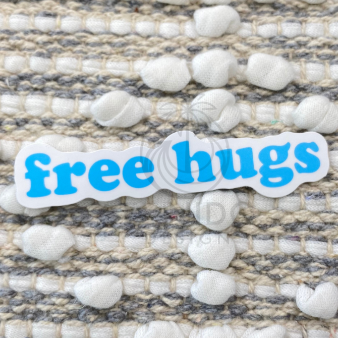 Blue Free Hugs Sticker