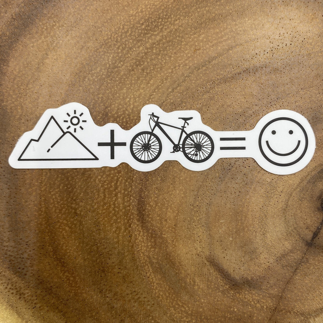 Mountain and bike Make me Happy Sticker